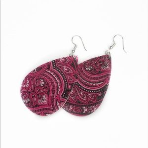 Water Drop Pink Bohemian Paisley Earrings